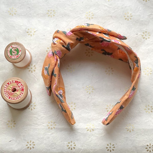 Head Band - block print;  mustard pink floral