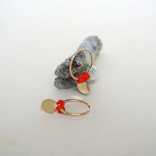EARRINGS with sequins & vintage coral