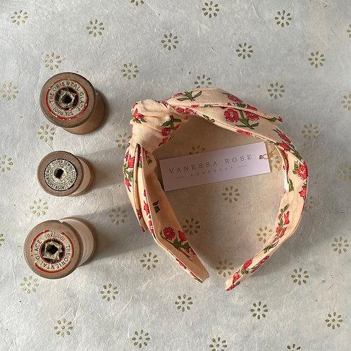 Head Band - block print;  cream pink floral