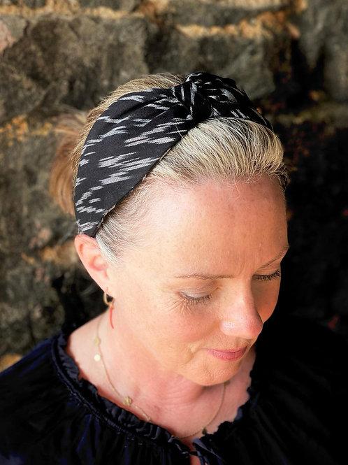 Turban Head Band - ikat black