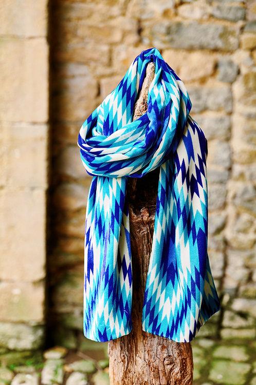 Silk Velvet Scarf - Blue