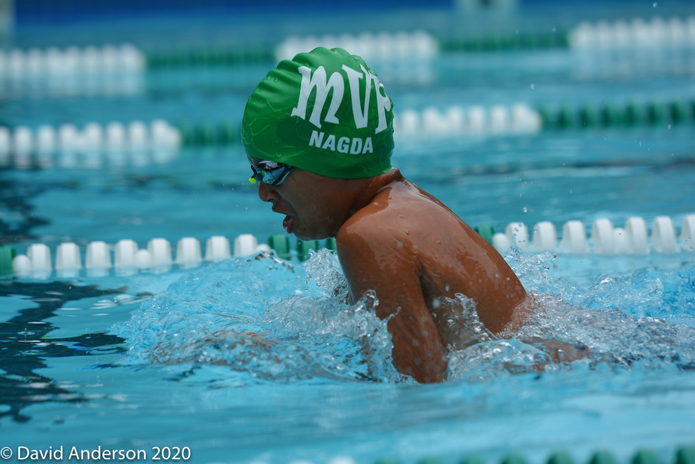 Shaan is swimming breastroke in an important race for Mount Vernon Park!
