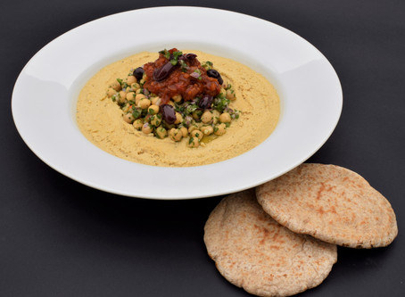 DYNAMIC AGEING Recipe - Hummus with Spicy Tomato Jam and Black Olives