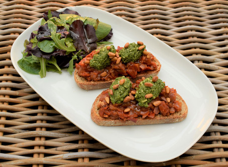 Tomato Chutney and Basil Bruchetta Recipe
