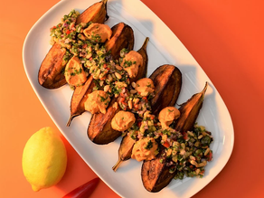 Harissa-roasted aubergines withPickled lemon and pine nut salsa: Dynamic Ageing Recipe