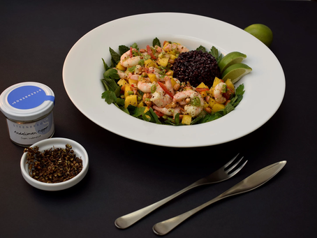 Indonesian Stir-Fried Prawns with Mango And Andaliman Pepper recipe from The Natural Vitality Chef