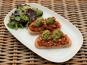 Tomato Chutney and Basil Bruschetta Recipe