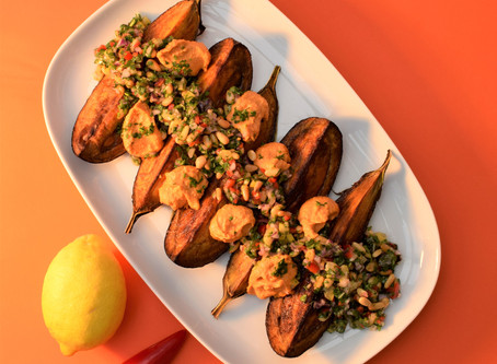 DYNAMIC AGEING RECIPE - Harissa-roasted aubergines with