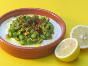 Turkish Broad Beans With Yoghurt, Harissa and Pickled Lemons recipe from The Natural Vitality Chef