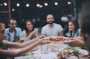 Group Friends Eating Dinner