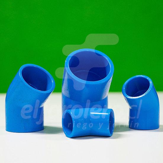 Codo 45° 20mm PVC Hid celeste
