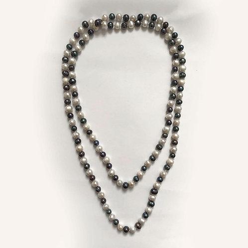 Black & Dark Grey Freshwater Pearl Necklace