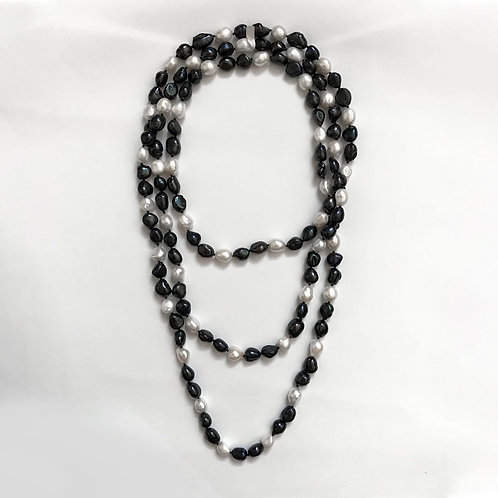 Black & White Baroque Pearl Necklace