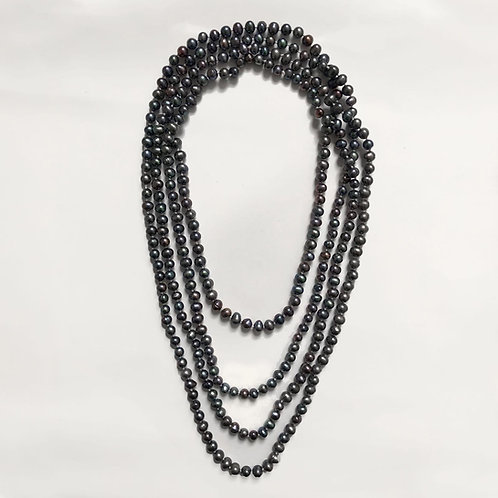 Extra Long Dark Grey Freshwater Pearl Necklace