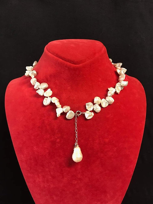 White Keshi Pearls Necklace