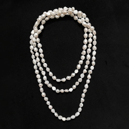 Long White Small Baroque Pearl Necklace