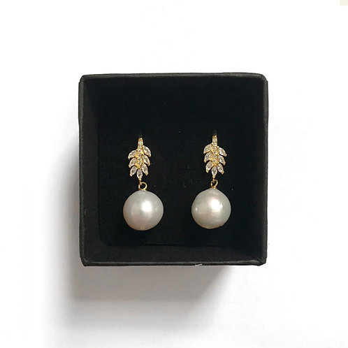 Round Freshwater Pearl Earrings With Gold Plated 925 Sterling Silver