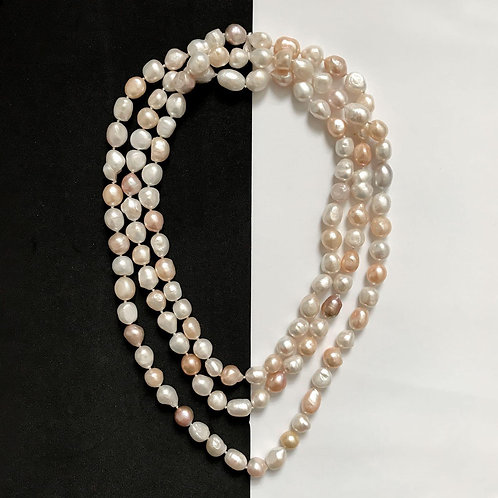 Long Multi - Coloured Freshwater Pearl Necklace