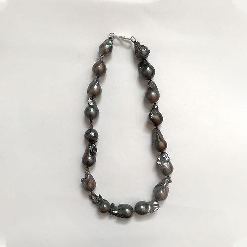 Dark Grey Baroque Pearl Necklace w/ Silver Clasp