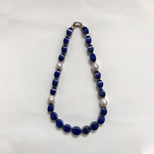 Unique Cut Lapis Lazuli With Edison Pearls