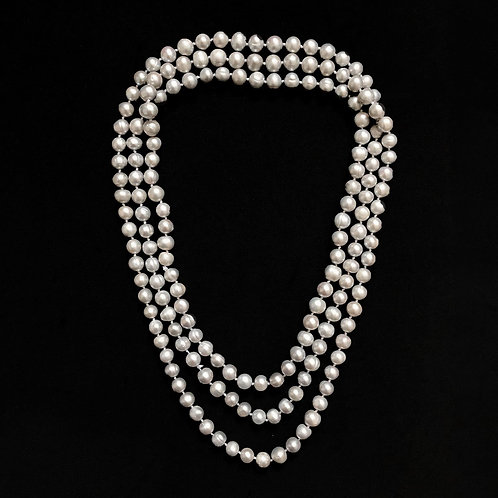 Silver Coloured Freshwater Pearl Necklace