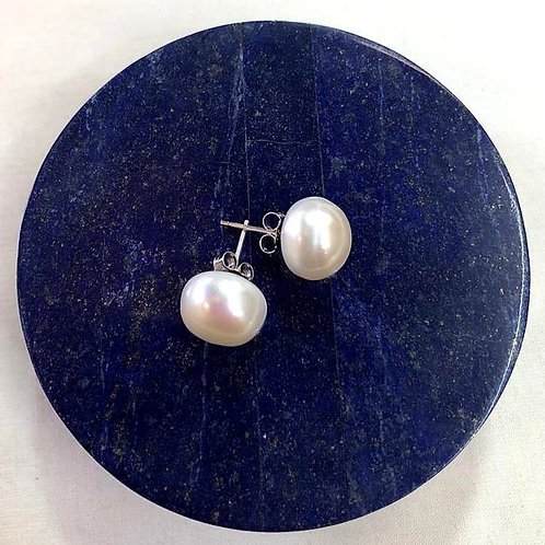Sterling Silver, Fresh Water Pearl Earrings - White