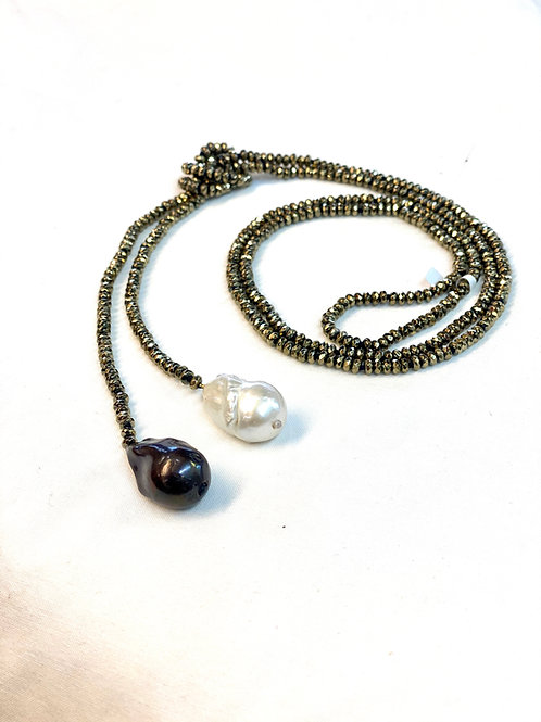Lariat Necklace - Pyrite and Baroque Pearls