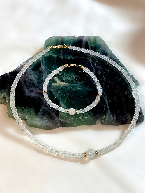 Faceted Moonstone Necklace and Bracelet