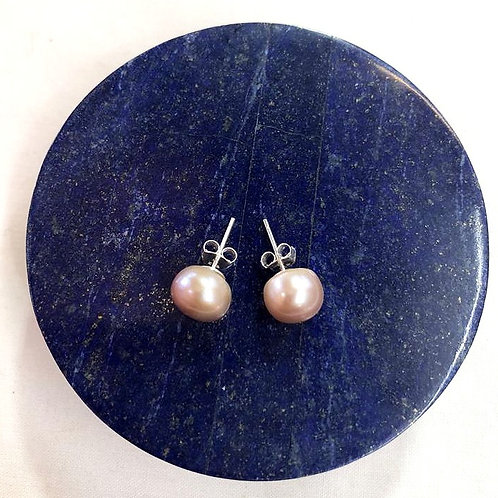 Sterling Silver, Fresh Water Pearl stud earrings - Champagne Colour
