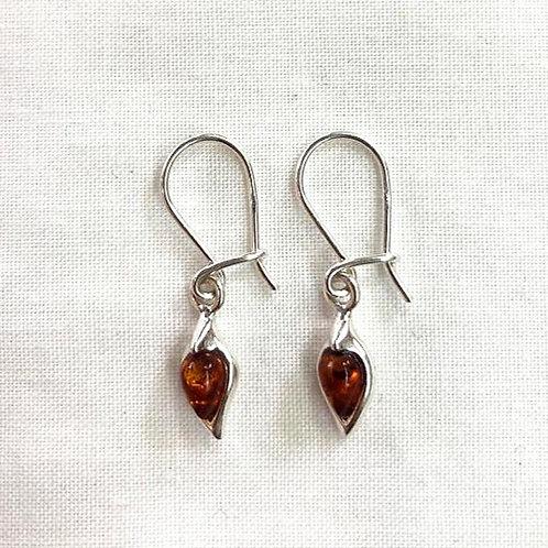 Amber Hook Earrings - Upside Down Drop Shape