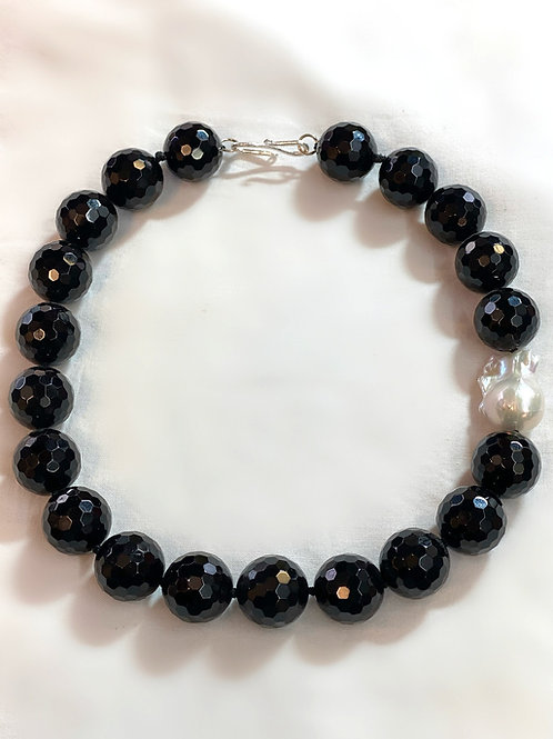 Faceted Onyx Necklace with Baroque Pearl