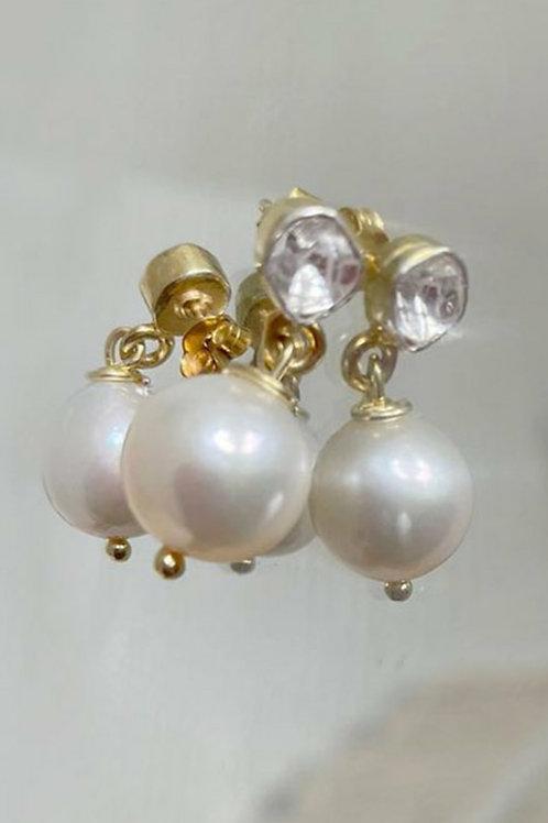 Rough Cut Diamond and Fresh Water Pearl Earrings