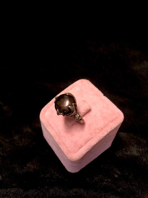 Dark Grey Freshwater Pearl With Sterling Silver