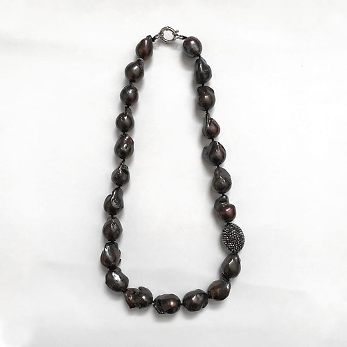 Dark Brown Baroque Pearl Necklace