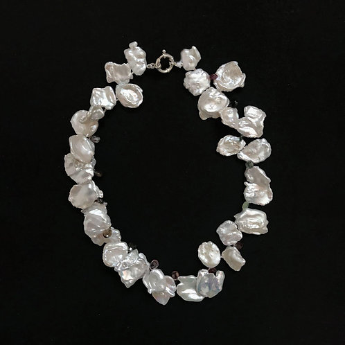 Unique Keishin Pearl Necklace With Tourmaline Beads