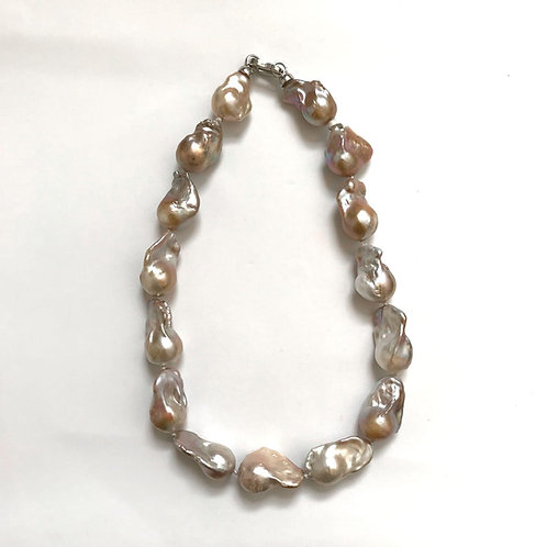 Champagne Baroque Pearls w/ Silver Clasp Necklace