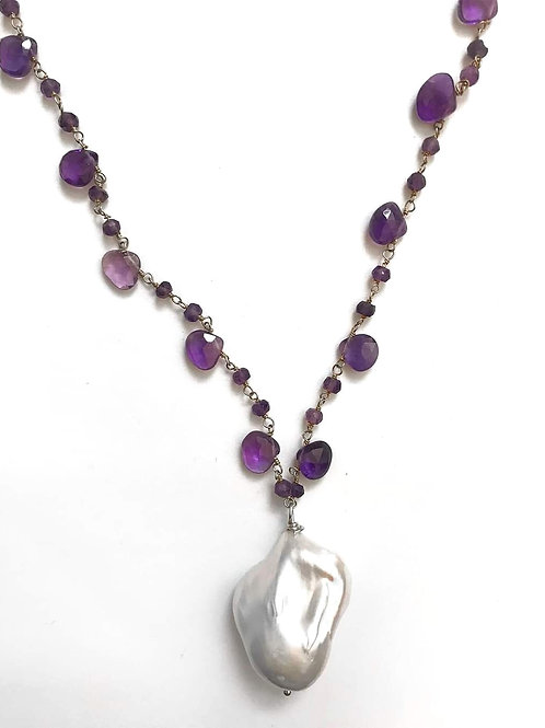Faceted Amethyst Necklace with Baroque Pearl