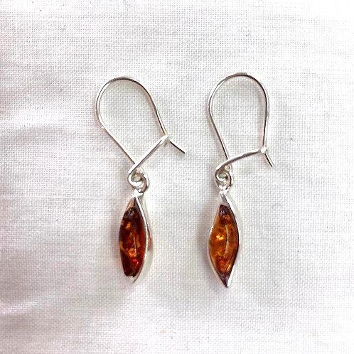 Amber Hook Earrings - Leaf Shape