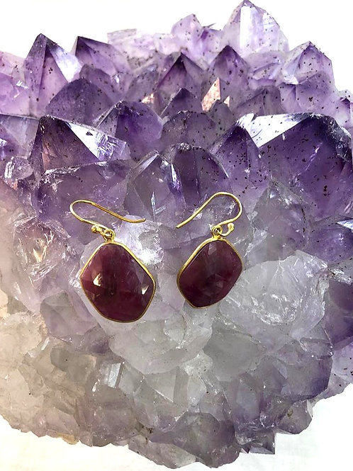 Gold Plated, Sterling Silver African Ruby Earrings
