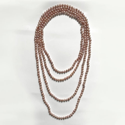 Champagne Coloured Round Freshwater Pearl Necklace Extra Long