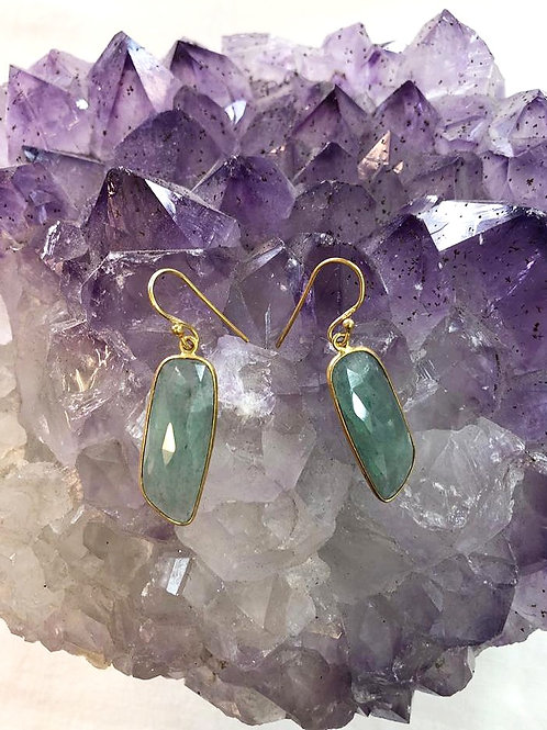 Aquamarine Sterling Silver, Gold Plated Earrings