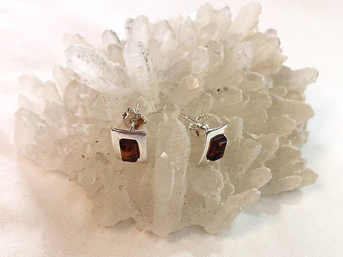 Amber Stud Earrings - Rectangle Sahpe