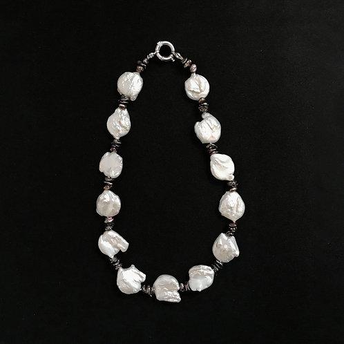 Unique Flat Baroque Pearl Necklace