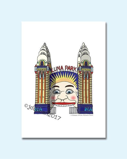 Luna Park, Sydney, Australia, Illustrations, Art Prints