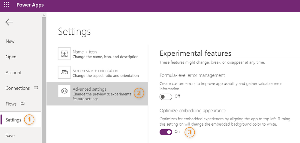 Optimize embedding appearance in Power Apps