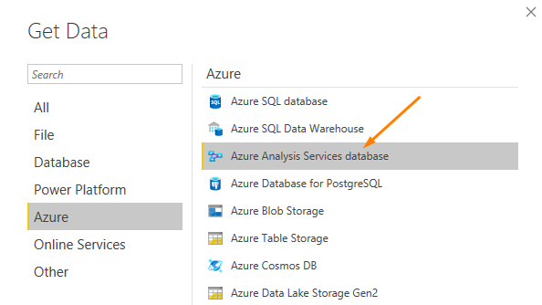 Get Data - Azure Analysis Services database