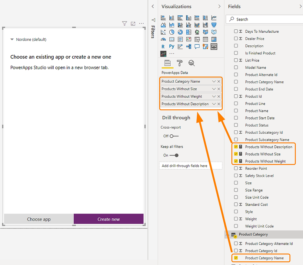 Assigning fields to PowerApps visual in Power BI report