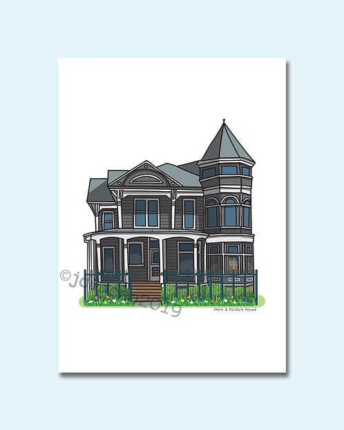 Mork and Mindy, Famous TV Houses, Famous Houses, House illustration, Illustrated Prints