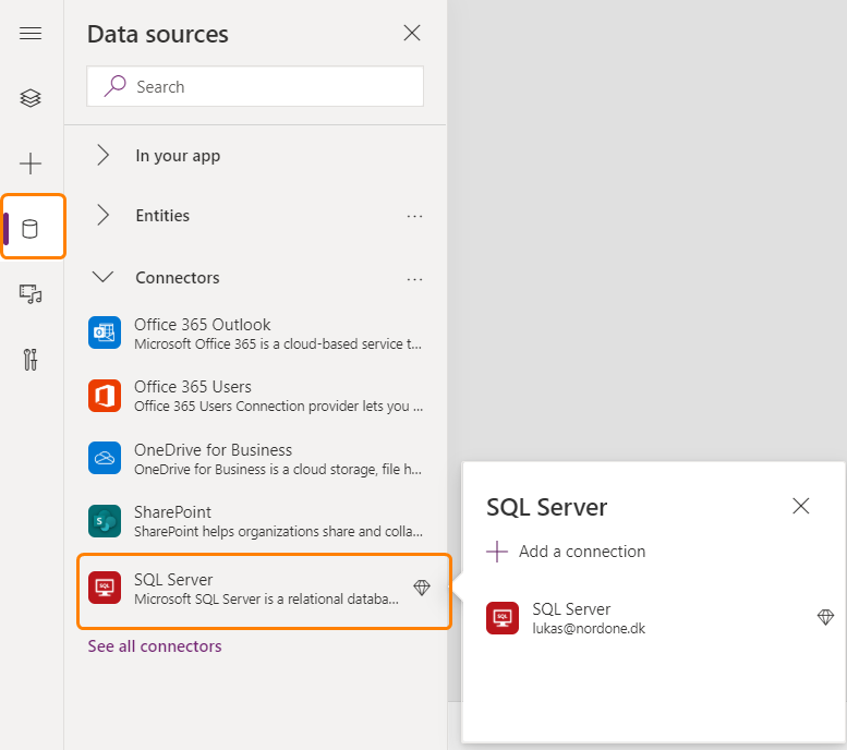 SQL Server data connector in Power Apps
