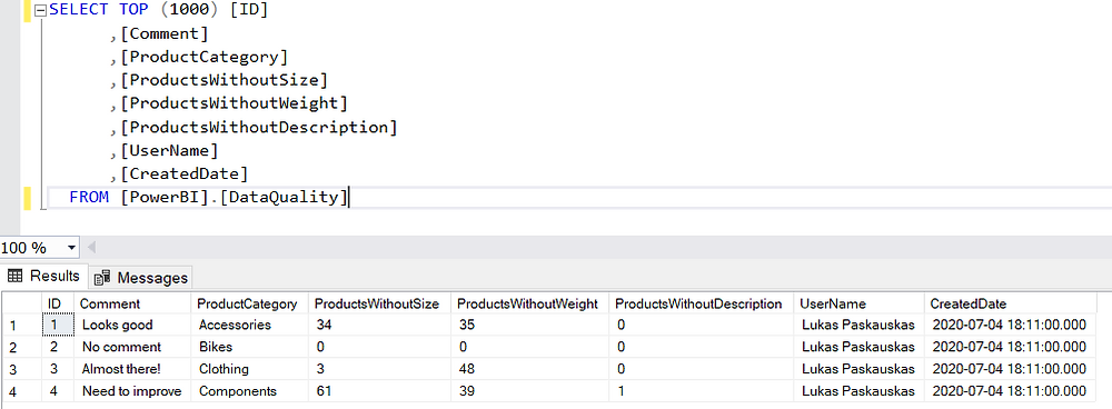 SQL Server table